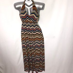 BISOU BISOU halter chevron stripes maxi dress